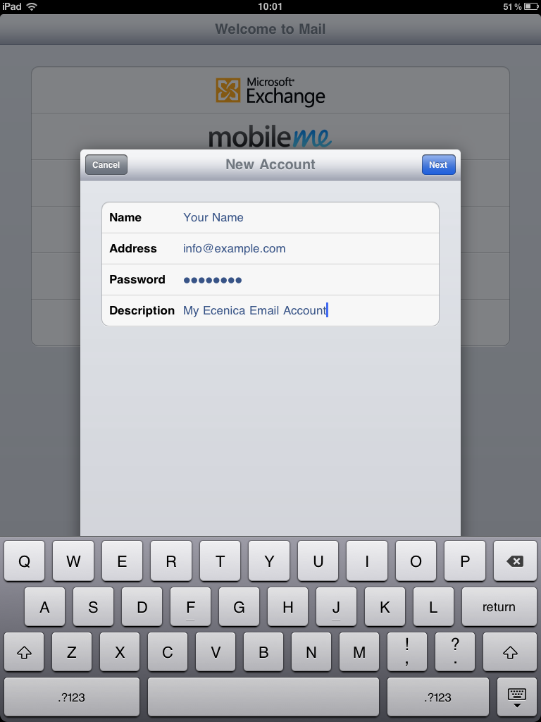 how to delete my email address from ipad